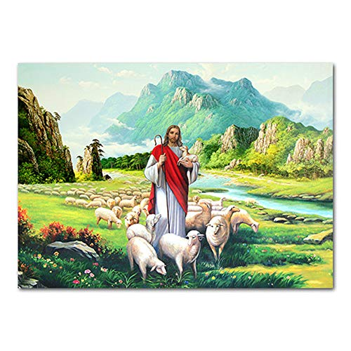 Canvas Painting Pictures Hd The Good Shepherd Jesus Christ Holy Lamb Colorful Religious Art Nordic Jesus Shepherd Poster No Frame