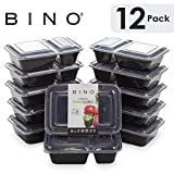 BINO Meal Prep Containers with Lids - 2 Compartment /30 oz [12-Pack], Black - Bento Box Lunch...