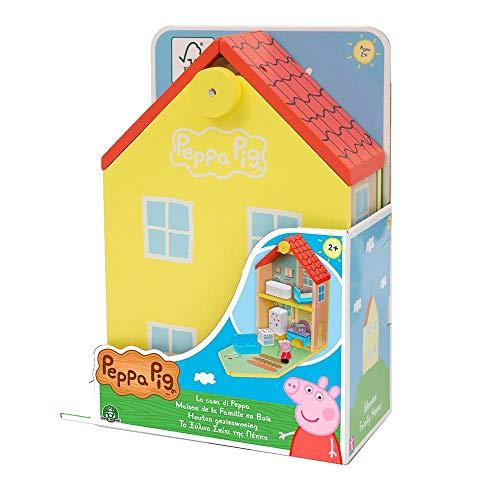 Peppa Pig, Maison Classique en Bois avec 2 personnages, Figurine Peppa en bois inclus, nombreux Accessoires, Poignée Pratique pour le Transport, PPC68