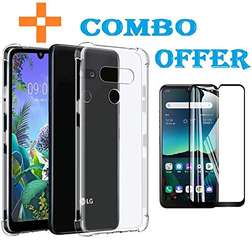 ADRY Soft Boom TPU Clear Back Cover Combo Offer 6D Gorilla Tempered Glass for LG Q60 [Black]