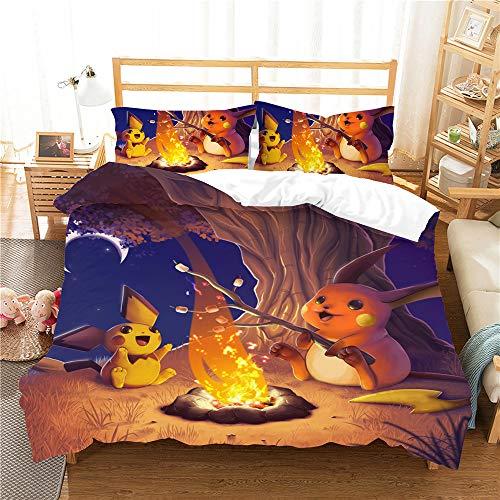 Meiju Bedding Set for Kids Boy Girl Single Double King Size Bed, 3D Printed Duvet Cover Set 3 Pieces with Microfiber Pillowcases & Zipper Closure Quilt Case (Pikachu J,220x230cm)