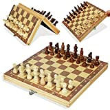 EVERGD Folding Magnetic Travel Wooden Chess Board Set 11.42x 11.42 inch With Magnetic Chess Pieces Educational Toys for Adults Kids