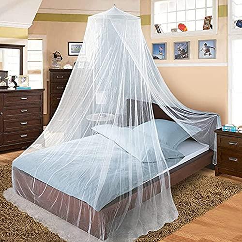 Zanzariera, zanzariera bianca per i viaggi e la casa, letto con zanzariera Zanzariera a baldacchino per letto matrimoniale e letto singolo, rete a maglia fine
