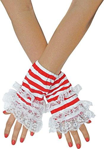 TrendandStylez Handstulpen Ringel mit Spitze Rot Blau Schwarz Handschuhe (Rot/Weiss)