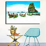 Geiqianjiumai Blaue frische Küstenlandschaft Hauptdekoration digitales Plakat großes Schiff Seestück Wanddekoration Bild rahmenloses Gemälde 50x75cm