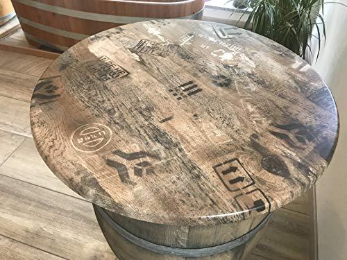 NHF Weinfass medium patiniert mit wetterfester Werzalit Platte Stehtisch regenfest Fasstisch Tischfass Holzfass erhöht ohne, Farbe Wz 80 cm