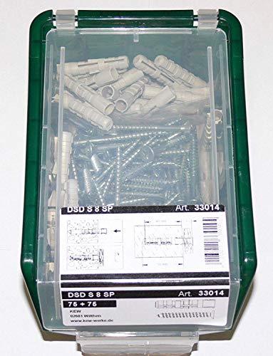 KEW , 75 Spreizdübel 8mm + 75 Spanplattenschrauben D 5,0 x 50 , in Stapelbox, Dübel