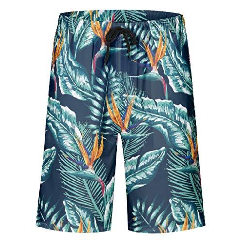 Rcerirt Mode Herren-Badehose Beach-Shorts Strandbadebekleidung schnell trocknen mit Taschen Flower White l