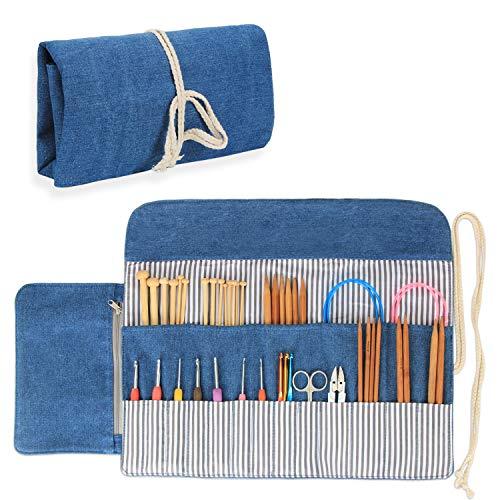 Luxja Stricknadel Aufbewahrung, Stricknadeln Tasche (bis zu 10 Zoll), Tasche für Stricknadeln, Organizer Tasche für Rundstricknadeln, (Keine Zubehör Enthalten), Blau