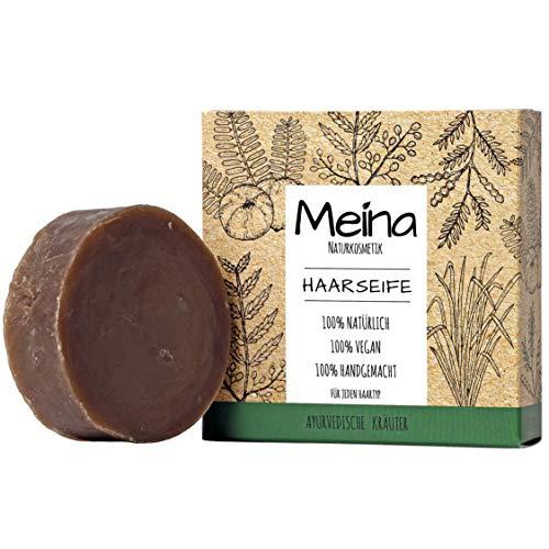 Meina - Bio Haarseife Naturkosmetik, Vegan Shampoo Bar mit ayurvedischen Kräutern, festes Shampoo - Palmölfrei, Plastikfrei (1 x 80 g)