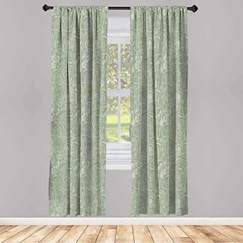 Ambesonne Abstract Window Curtains, Tribal Celtic Art Inspired Monochrome Swirls Scroll-Like Ornaments, Lightweight Decorative Panels Set of 2 and Rod Pocket, 56' x 95', Sage Green