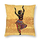 Duduho Cozy Throw Pillow Cover Indian Dancing Woman Decorative Square Pillowcase Throw Cushion Case for Bedroom, Living Room, Sofa, Couch and Bed, 18 X 18 Inches