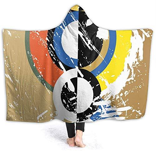 Círculos geométricos Arte colorido Manta con capucha Manta impresa para vestir Ultra suave y acogedora Mantas gruesas de lana de invierno Capa grande Abrigo cálido para la escuela Comping Travel-Negro