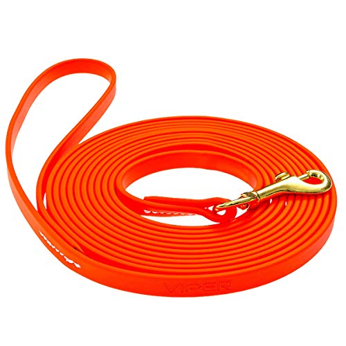 Viper K9 Biothane Working Dog Leash Waterproof Lead for Tracking Training Schutzhund Dog Sport & Search - Odor-Proof Long Line with Solid Brass Snap for Puppy Medium and Large 1/2' x 33ft Orange