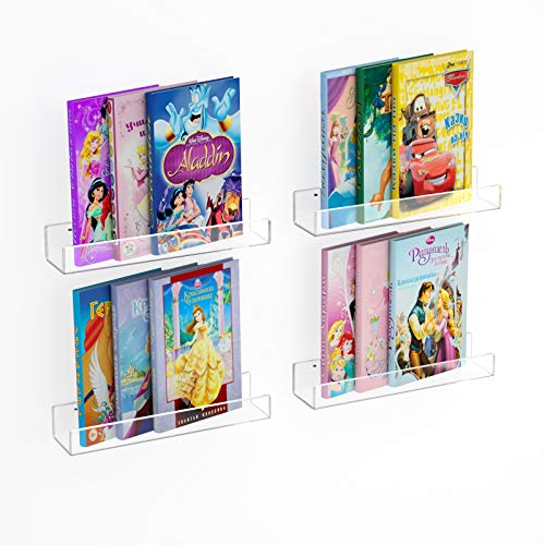 NIUBEE Acrylic Floating Bookshelf 15in, Clear Kids Wall Book Shelves 4-Packs, Display Shelf Wall Mounted for Toys/ Funko pop, 50% Thicker with Free Screwdriver.