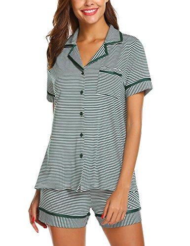 Ekouaer Striped Printed Pajamas Womens Short Set Cotton Sleepwear Short Sleeves Pj Sets for Women (Green Black Striped M)