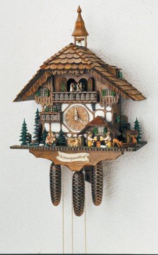 Anton Schneider Alemán Reloj de Cuco - Estilo Chalet - Mecanismo con Cuerda para 8 días - 60 cm - Auténtico Reloj de Cuco del Bosque Negro
