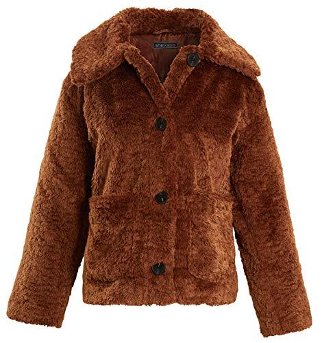 shelikes Borg Teddy Bont Kraag Bruin Winter Korte Button Up Jas Grootte