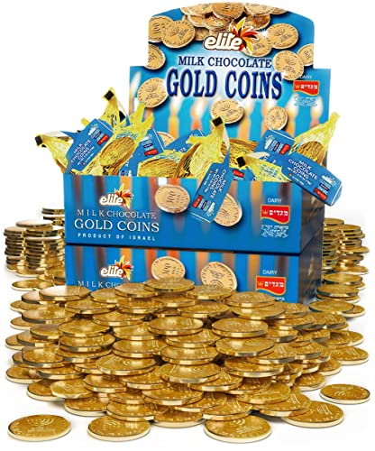 Elite Bulk Hanukkah Gelt Milk Chocolate Gold Coins (48 MESH BAGS of .53oz ) Filled with Menora Embossed Hanukkah Gelt , Individually Wrapped, Gluten Free, Strictly Kosher, Made in Israel