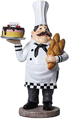sleeri Chef Figurines Kitchen Decor, Resin Chef Holding Bread and Cake Figurine/Cook Statue Home Kitchen Restaurant Decorative Ornaments, Cooking Chef Statue Collectible Figurine