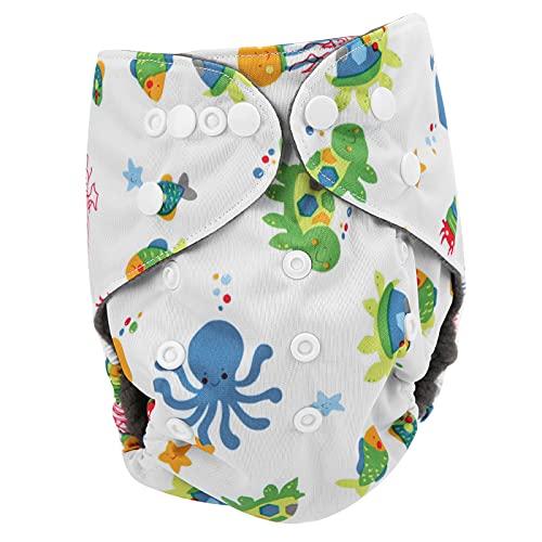 Pantalones de Entrenamiento para bebés, pañales de Tela para bebés Reutilizables y Lavables Suave Transpirable antifugas de Bolsillo con broches Ajustables de Doble Fila(Tortuga)
