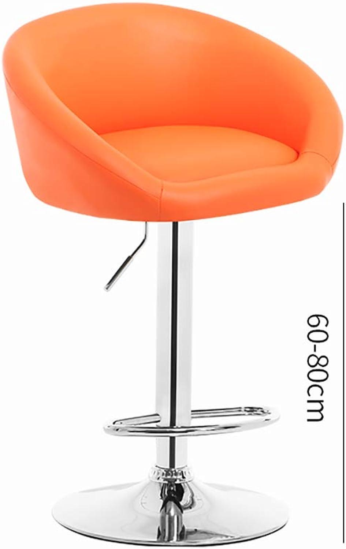 360° redating Lift bar Chair, ergonomically Designed high Stool, Suitable for Restaurants, Cashier Front Desk-orange