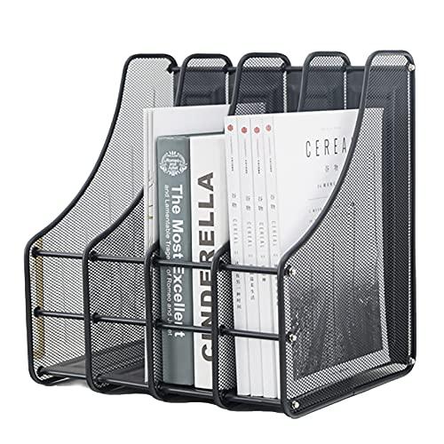 VANRA Organizador de 4 clasificadores de archivos de malla de metal para escritorio, soporte para revistas, secciones verticales verticales, color negro
