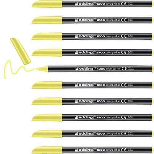 Edding 1200 rotulador de color de trazo fino - amarillo neón - 10 rotuladores - punta redonda de 1 mm - marcador dibujar y escribir