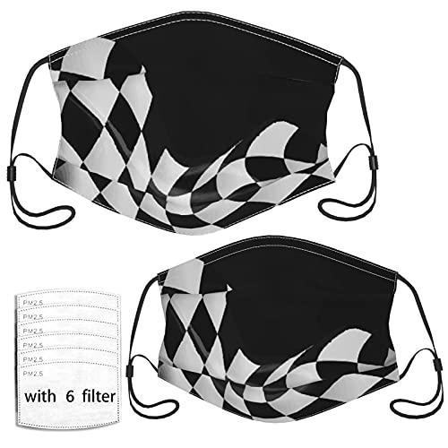 Gewellte karierte Renn-Gesichtsmasken für Erwachsene, Kinder, coole Gesichtsmasken – 6 Filter, wiederverwendbar, für Männer, Frauen, Mädchen, Jungen, 2 Stück