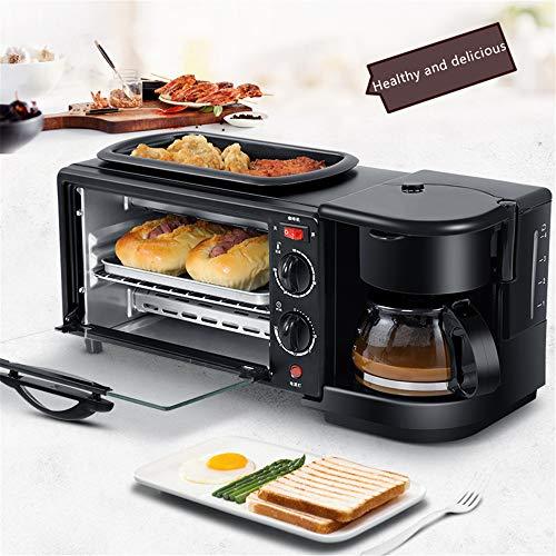 Macchina per la colazione 3 in 1 in acciaio inossidabile, macchina per caffè espresso da 4 tazze da 600 W, forno tostapane multifunzione da 500 W / 5 L, caraffa di vetro rimovibile con controllo