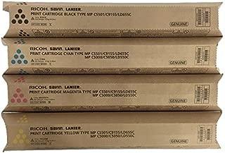 New Genuine Ricoh Toner Set for MP C4501, C5501 - Cyan Yellow Magenta & Black
