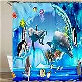 Acuario Dolphin Penguin. Tamaño: 180X180Cm. Incluye 12 Ganchos En Forma De C. Se Seca Rápidamente Y No Se Desvanece. Tela De Fondo De Cortina De Ducha De Cortina.