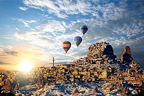 Rompecabezas de adultos Paseo en globo aerostático DIY arte de la pared Imagen Decoración del hogar ilustraciones 500pcs 52 * 38 CM