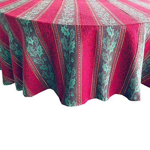 Golden Jacquard Ivy Cottage Stripe, Red and Gold Cotton Fabric Weave Tablecloth, 70' Round