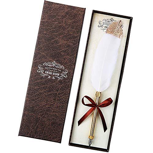 Penna Piuma d'Oca Vintage, Penna d'Oca Antica Con Scrittura Calligrafica, Di Penne Per Calligrafia Con Piume.