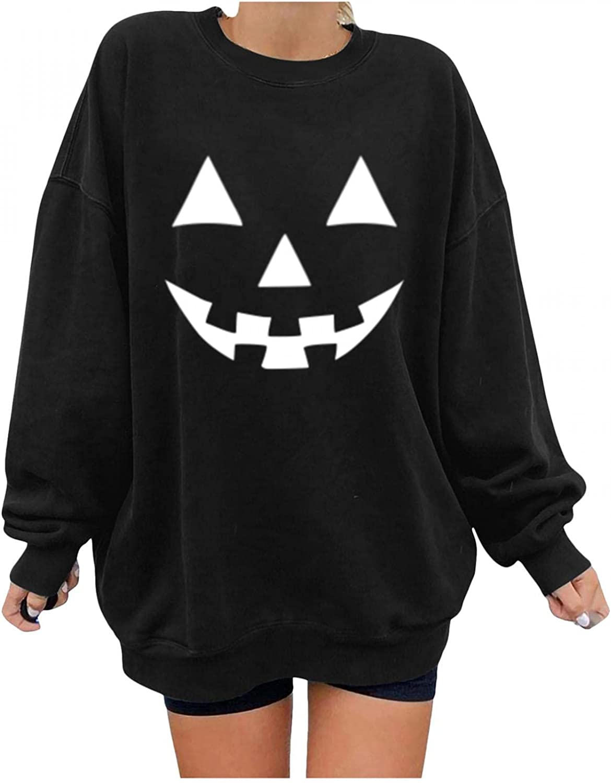 Sweatshirts for Women,Women's Halloween Pumpkin Skeleton Printed Sweatshirt Crew Neck Long Sleeves Tunic Blouses Shirts