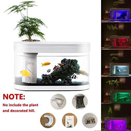 Zenph 8L Nano Aquarium Aquarien mit 5 Colors LED-Beleuchtung Einsteigerbecken mit Filter und Energie Sparen 5W Ruhig Pump, für Zuhause und Büro, Weiß