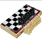 Juego de ajedrez portátil Solid Wood International Chess Set Classic Board juego con tablero de ajedrez plegable para el juego de la fiesta familiar de viajes Ajedrez de madera con juego de mesa de aj