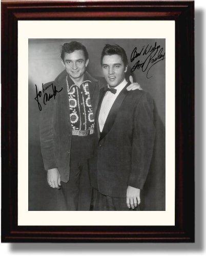 Framed Johnny Cash and Elvis Presley Autograph Replica Print
