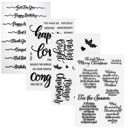 OOTSR 4PCS Crafts Stamps Cards, Clear Rubber Stamps for Card Making, Clear Stamp Silicone Stamp Cards with Sentiments, Friendly Phrases Image