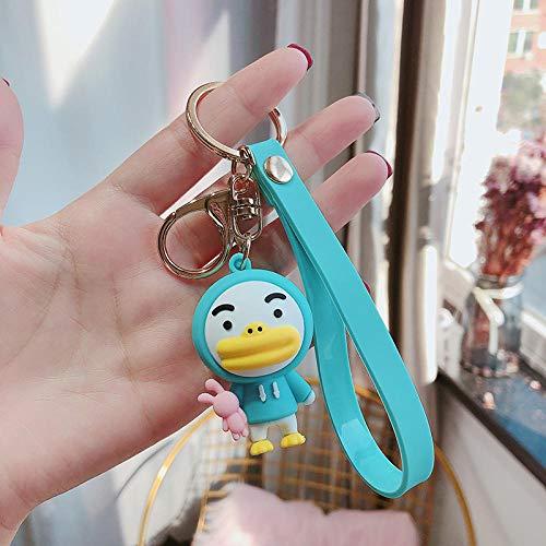 Sinzong Sleutelhanger voor dames, leuk cartoon-zacht plastic poppen-sleutelhanger, 2 stuks Duck