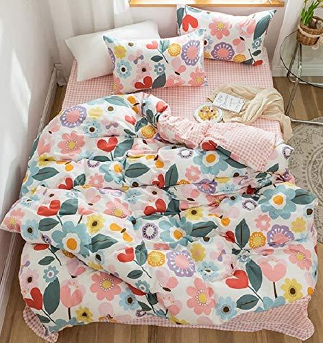 GETIYA Mädchen Rosa Bettwäsche 100x135 Bunte Cartoon Blumen Bettwäsche Mädchen Baby Bettwäsche Rosa Bettbezug 100% Baumwolle Wende Bettwäsche mit Reißverschluss und Kissenbezug 40x60