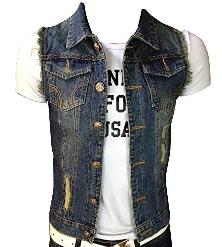 Targogo Giacca in Denim da Uomo Giacca di Jeans Vintage Strappata con Canotta Frange Semplice Gilet di Jeans Senza Maniche Rivetto di Jeans (Color : Dunkelblau, Size : 2XL)