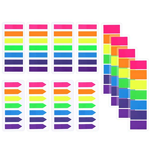 SOSPIRO 1680 Pieces Flags Index Tabs,Writable Rectangle and Arrow Sticky Notes Flags Page Index Stickers,7 Colors,12 Set