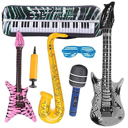 INTVN Chitarra Gonfiabile Giocattoli Strumenti Musicali per Partito, Sassofono, Microfono, Tastiera, Accessori per Partito, Festival, Piscine, Bambini Regalo, 7 Pezzi (Colore Casuale)