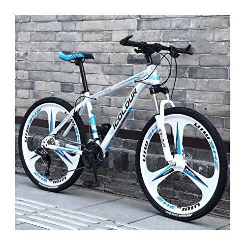 Bicicleta De Montaña De Aluminio Ligero De 24 Pulgadas Y 27 Velocidades, para Adultos, Mujeres, Adolescentes,White Blue