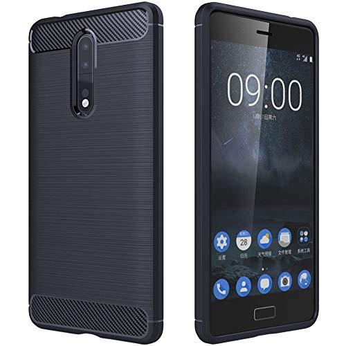 ebestStar - Funda Compatible con Nokia Nokia 8 Carcasa Silicona Gel, Protección Diseño Fibra Carbono Premium Ultra Slim Case, Azul Oscuro [Aparato: 151.5 x 73.7 x 7.9mm, 5.3'']