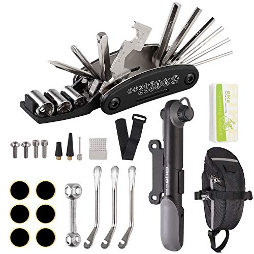 EYPINS Kit de Reparación de Bicicletas, 16 en 1 Kit de Herramientas de Reparación de Bicicletas, Herramienta de Bicicleta Multifuncional con Kit de Parche y Palancas de Neumáticos