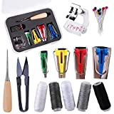 BUTUZE 4 Size Fabric Bias Tape Makers Kit, Bias Binding Maker 6mm/12mm/18mm/25mm with 5 Colors Sewing Thread, Awl, Binding Foot, Ball Pins, Sewing Tools Kit for DIY Quilting