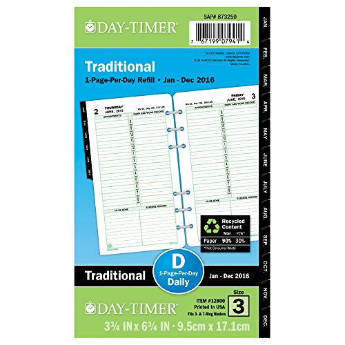 Day-Timer Daily Planner Refill 2016, One Page Per Day, Traditional, Portable Size, 3.75 x 6.75 Inches (12800)